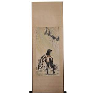 XU BEIHONG SIGNED HORSE CHINESE TRADITIONAL PAINTING