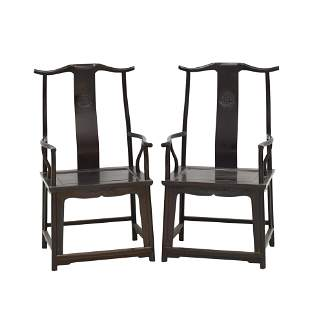 ANTIQUE PAIR ZITAN CARVED OFFICER HAT ARM CHAIRS