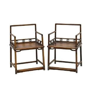 ANTIQUE PAIR HUANGHUALI CARVED ROSE ARM CHAIRS