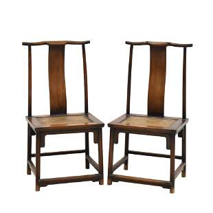 ANTIQUE PAIR HUANGHUALI CARVED OFFICER HAT CHAIRS