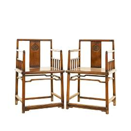PAIR HUANGHUALI CARVED ROSE ARMCHAIRS