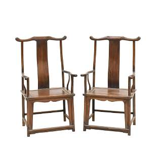 ANTIQUE PAIR HUANGHUALI CARVED OFFICER HAT ARM CHAIRS