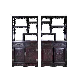 20TH C CARVED CHINESE HARDWOOD GALLERY CABINET