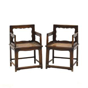 ANTIQUE PAIR HUANGHUALI WICKER SEAT ROSE ARM CHAIRS