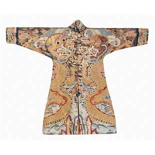 18TH/19TH C. DOUBLE DRAGON EMBROIDERY IMPERIAL SILK