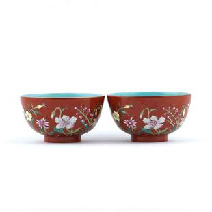 PR. QIANLONG FAMILLE ROSE FLORAL OVER RUBY RED BOWLS