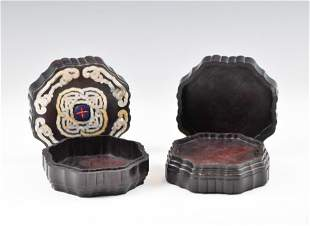 PAIR OF MOTHER OF PEARL INLAID ZITAN BOXES