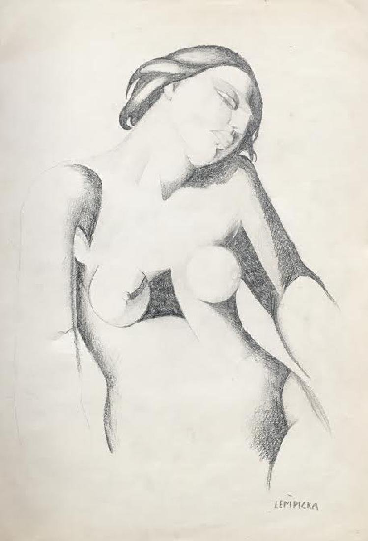 Tamara De Lempicka SIGNED ORIGINAL PENCIL DRAWING