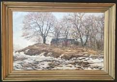 Ernest Lawson SIGNED ORIGINAL OIL PAINTING Winter