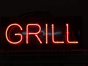 Red Neon GRILL Sign