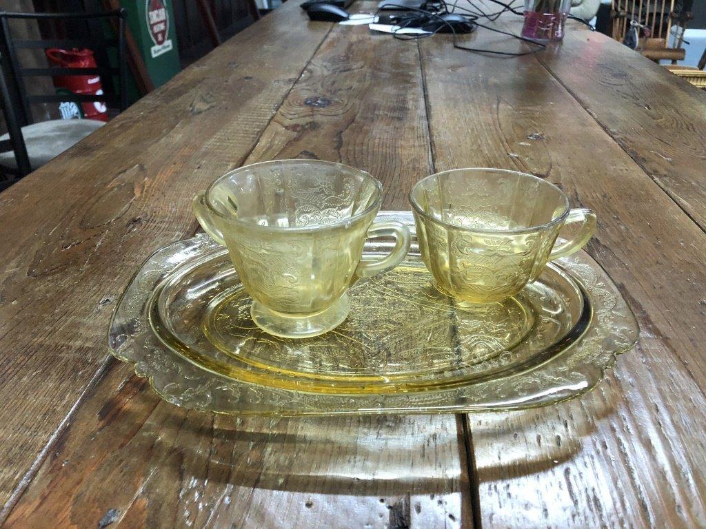 3 Piece Lot Yellow Depression Glass