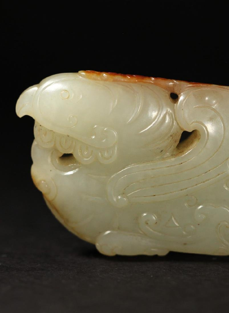 A WHITE AND RUSSET JADE PHOENIX PENDANT - 3