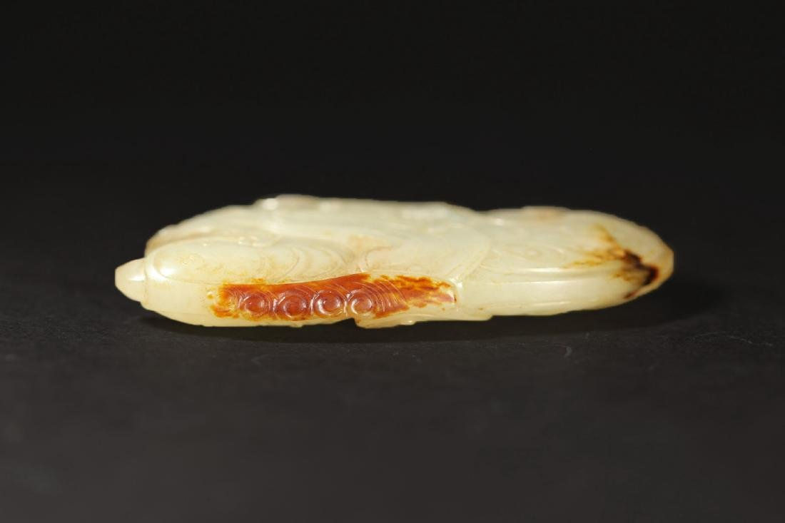 A WHITE AND RUSSET JADE PHOENIX PENDANT - 8