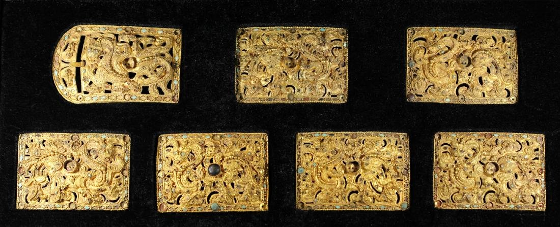 A SET OF PURE GOLD INLAID GEMSTONE BELT PLAQUES