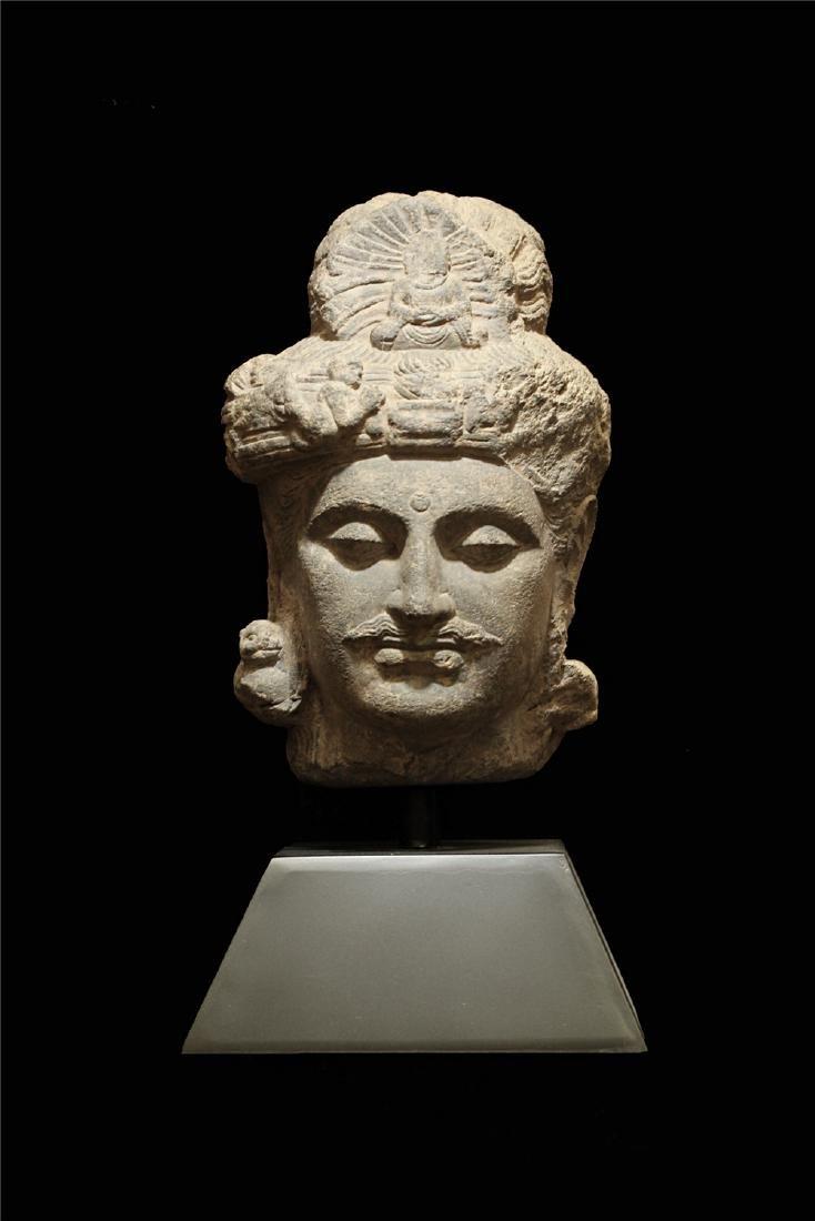 A STONE BUDDHA'S HEAD
