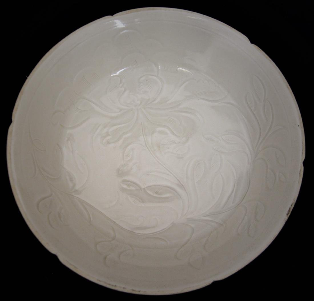 WHITE GLAZED AND CARVED 'FLOWERS' DISH