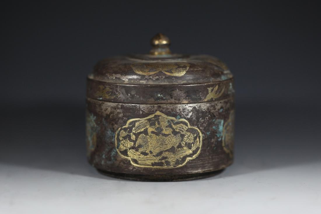 A GILT-BRONZE BOX - 4