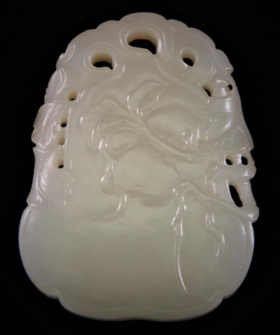 WHITE JADE CARVED 'FLOWERS AND FRUITS' PENDANT PLAQUE - 2