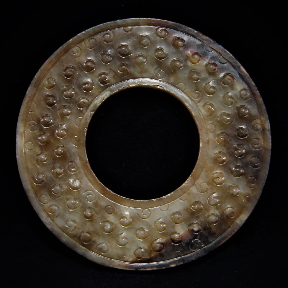 JADE CARVED ARCHAIC STYLE DISC, BI - 2