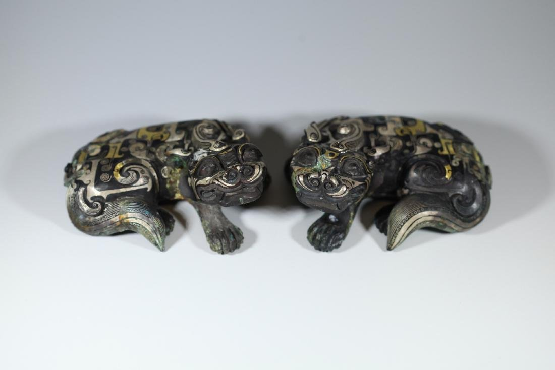 A GOLD AND SILVER INLAY ANIM ANIMAL       HAN DYNASTY