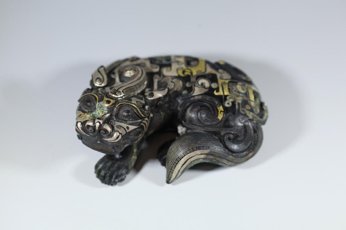 A GOLD AND SILVER INLAY ANIM ANIMAL       HAN DYNASTY - 2