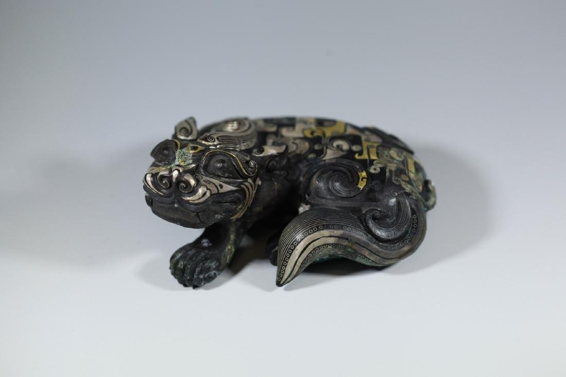 A GOLD AND SILVER INLAY ANIM ANIMAL       HAN DYNASTY - 3