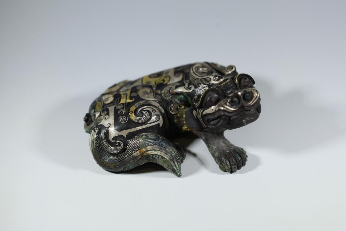 A GOLD AND SILVER INLAY ANIM ANIMAL       HAN DYNASTY - 6