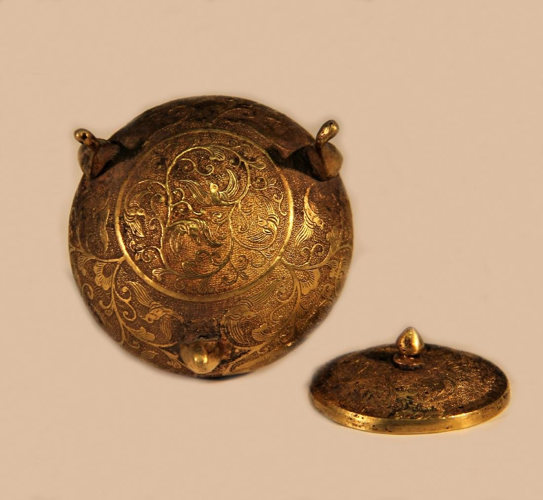 A Golden Tirpod Vessel with Lotus shape - Tang Dynasty - 6