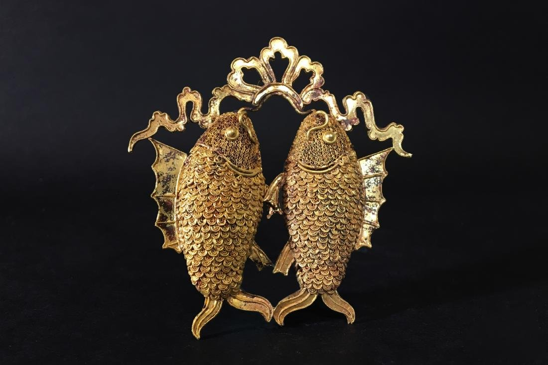 A Gold Carving Fish of Pendant - Ming Dynasty