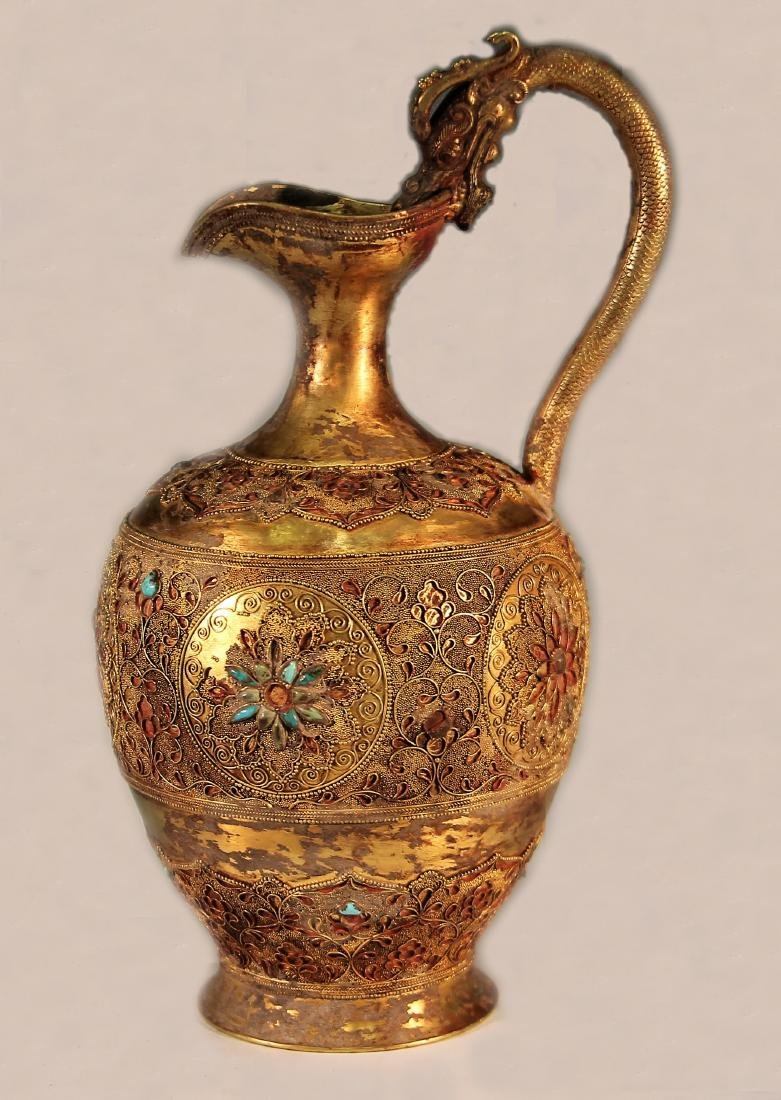 A Gold Vessel with Dragon Head Carving - Tang Dynasty