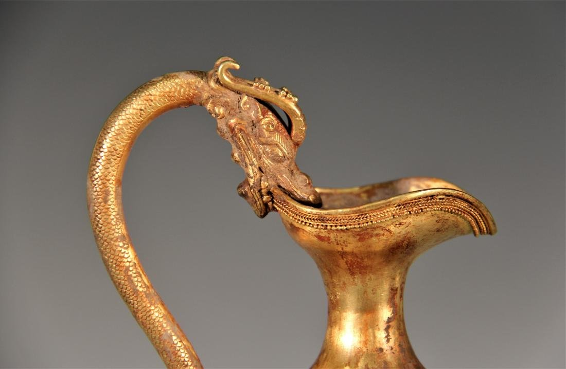 A Gold Vessel with Dragon Head Carving - Tang Dynasty - 3