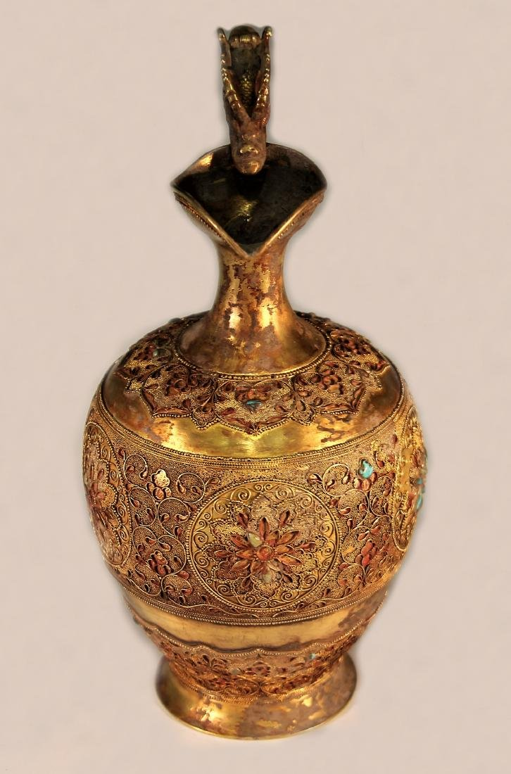 A Gold Vessel with Dragon Head Carving - Tang Dynasty - 5