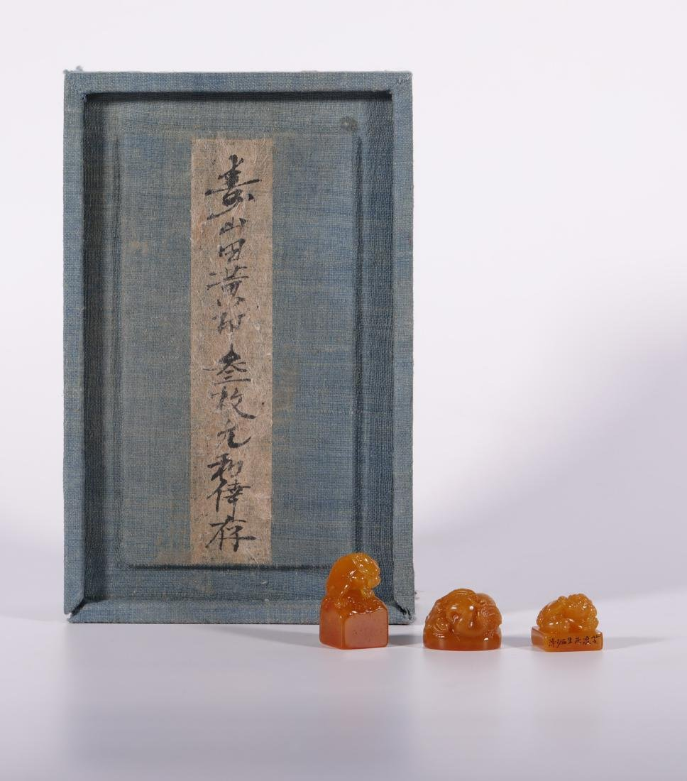 "Qing Dynasty - Set of ""Finest Larderite Stone"" Seal"