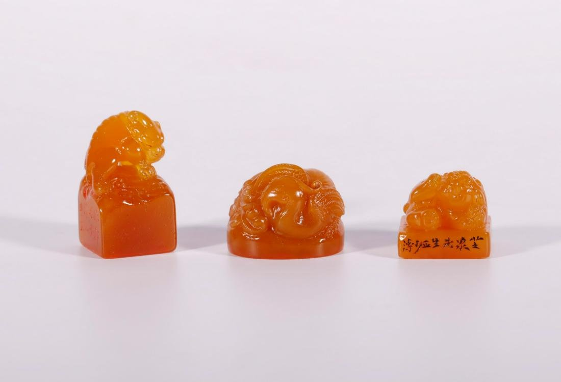 "Qing Dynasty - Set of ""Finest Larderite Stone"" Seal - 2"