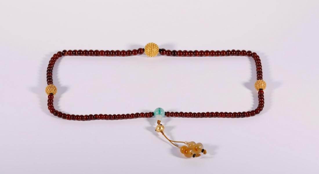 Qing Dynasty - 108 Agate Beads Necklace - 2