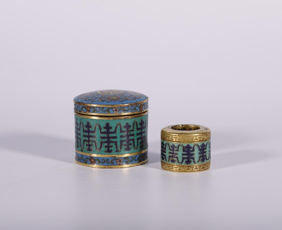Qing Dynasty - Cloisonne and Gilted Thumb Ring With