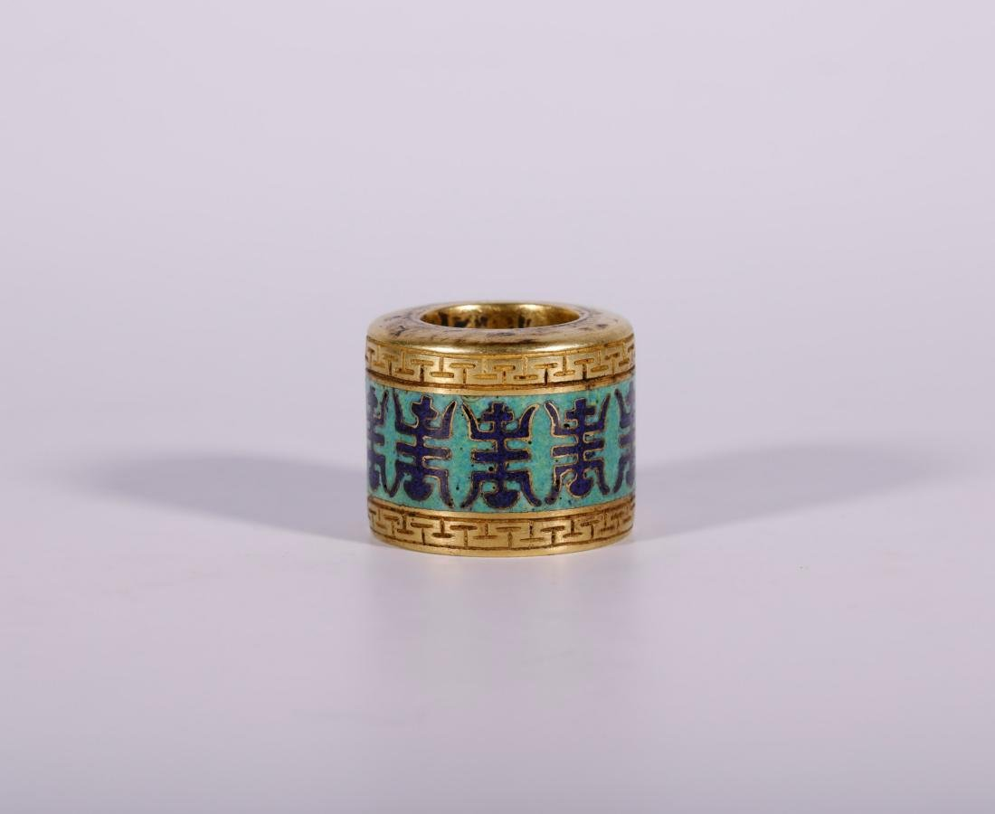 Qing Dynasty - Cloisonne and Gilted Thumb Ring With - 2