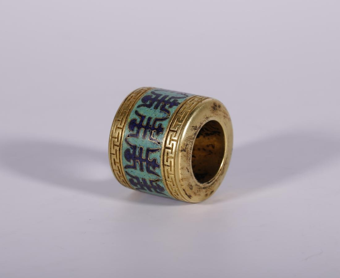 Qing Dynasty - Cloisonne and Gilted Thumb Ring With - 3