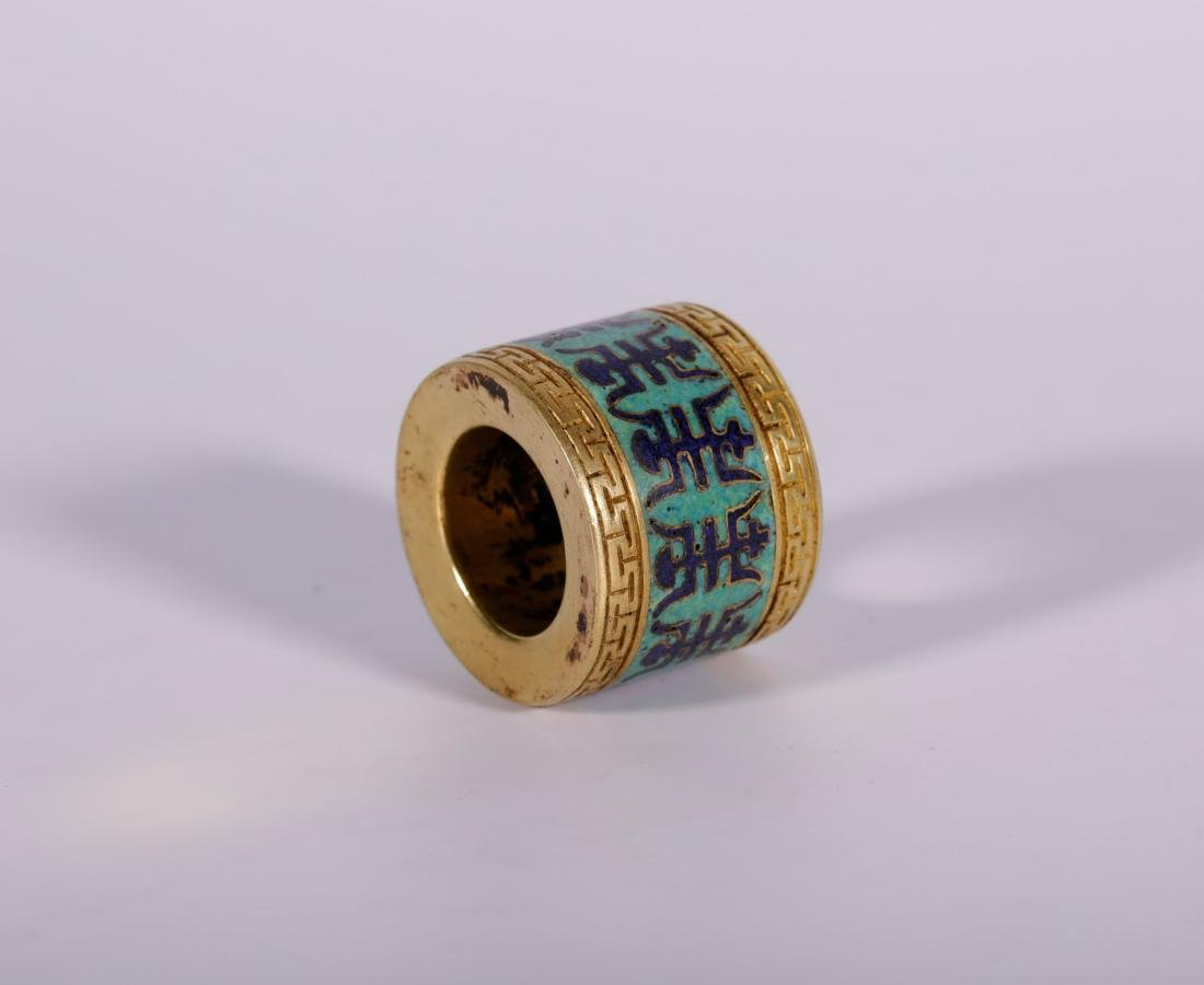 Qing Dynasty - Cloisonne and Gilted Thumb Ring With - 4