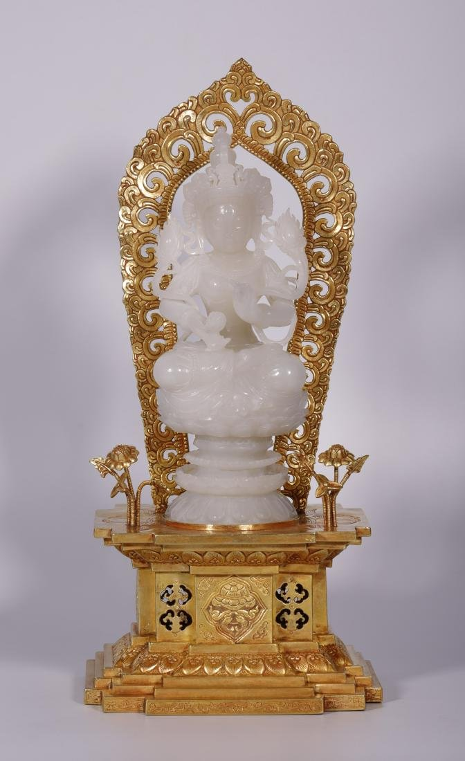 Qing Dynasty - White Jade Buddha With Gold Stand