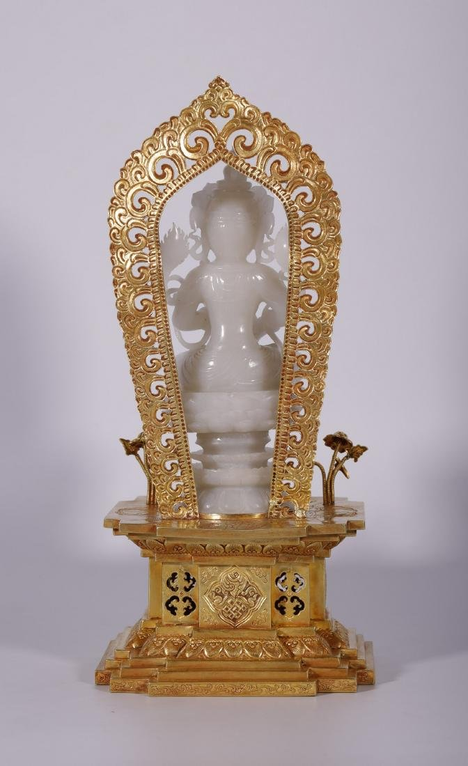 Qing Dynasty - White Jade Buddha With Gold Stand - 2