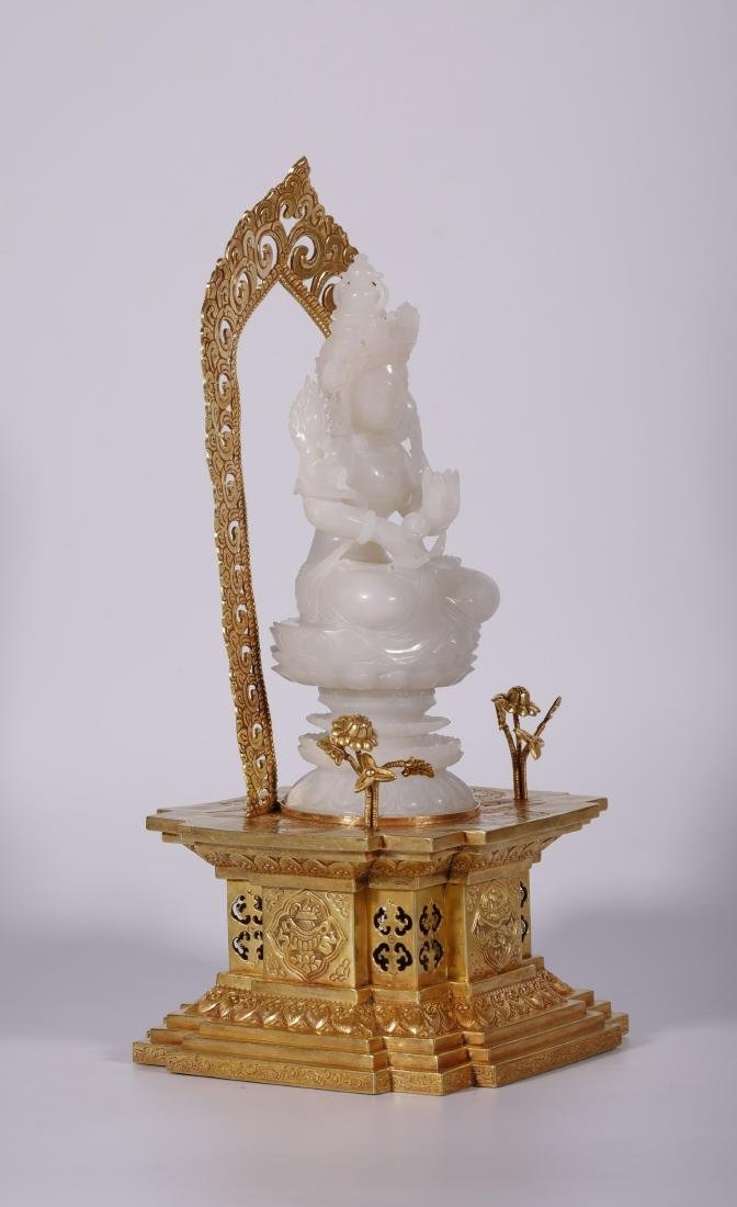 Qing Dynasty - White Jade Buddha With Gold Stand - 3