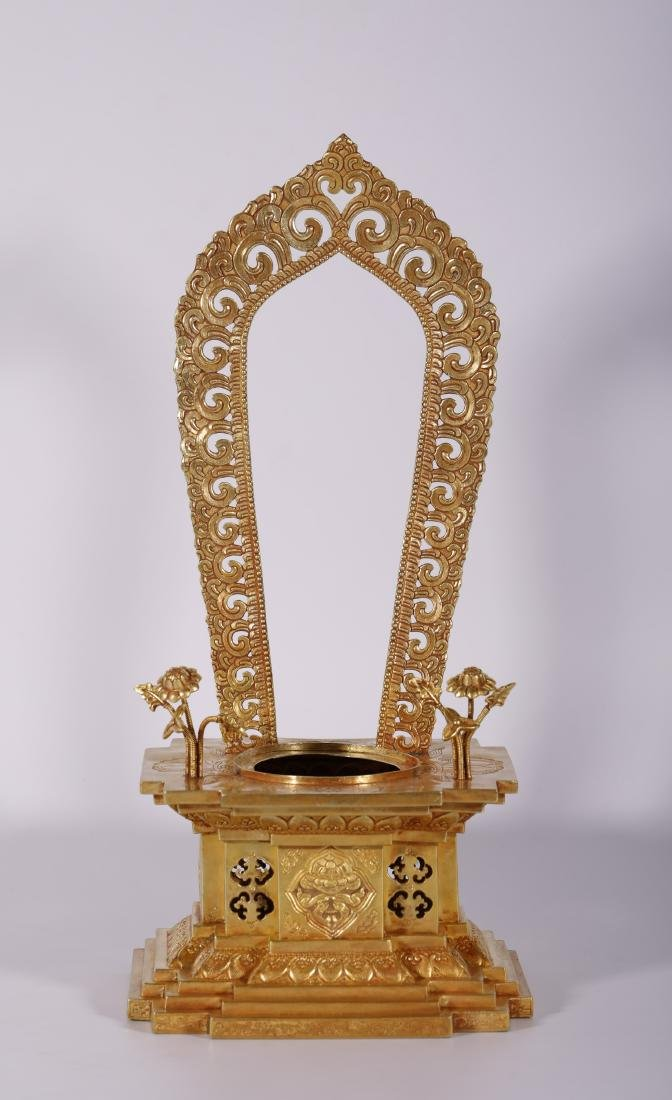 Qing Dynasty - White Jade Buddha With Gold Stand - 6