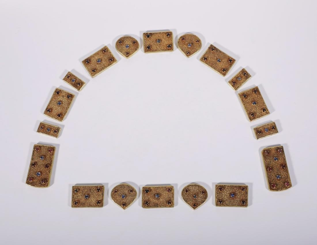 Yuan Dynasy - Gold Belt Covered In Gold Silk And Gems