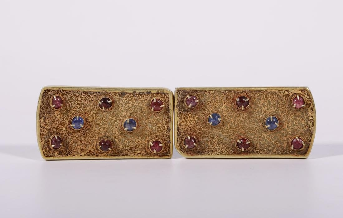 Yuan Dynasy - Gold Belt Covered In Gold Silk And Gems - 2