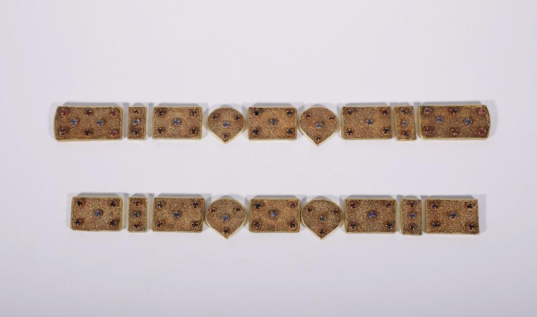 Yuan Dynasy - Gold Belt Covered In Gold Silk And Gems - 8