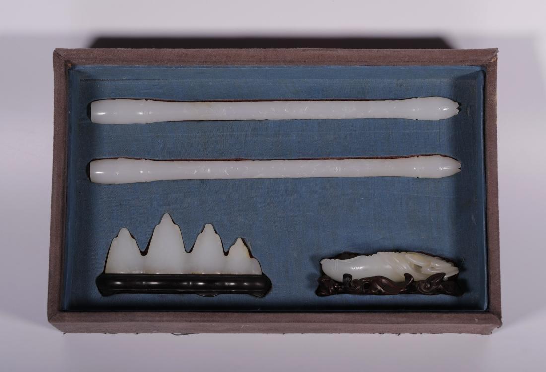 "Qing Dynasty - ""Hetian"" Jade Stationery (4 pc)"