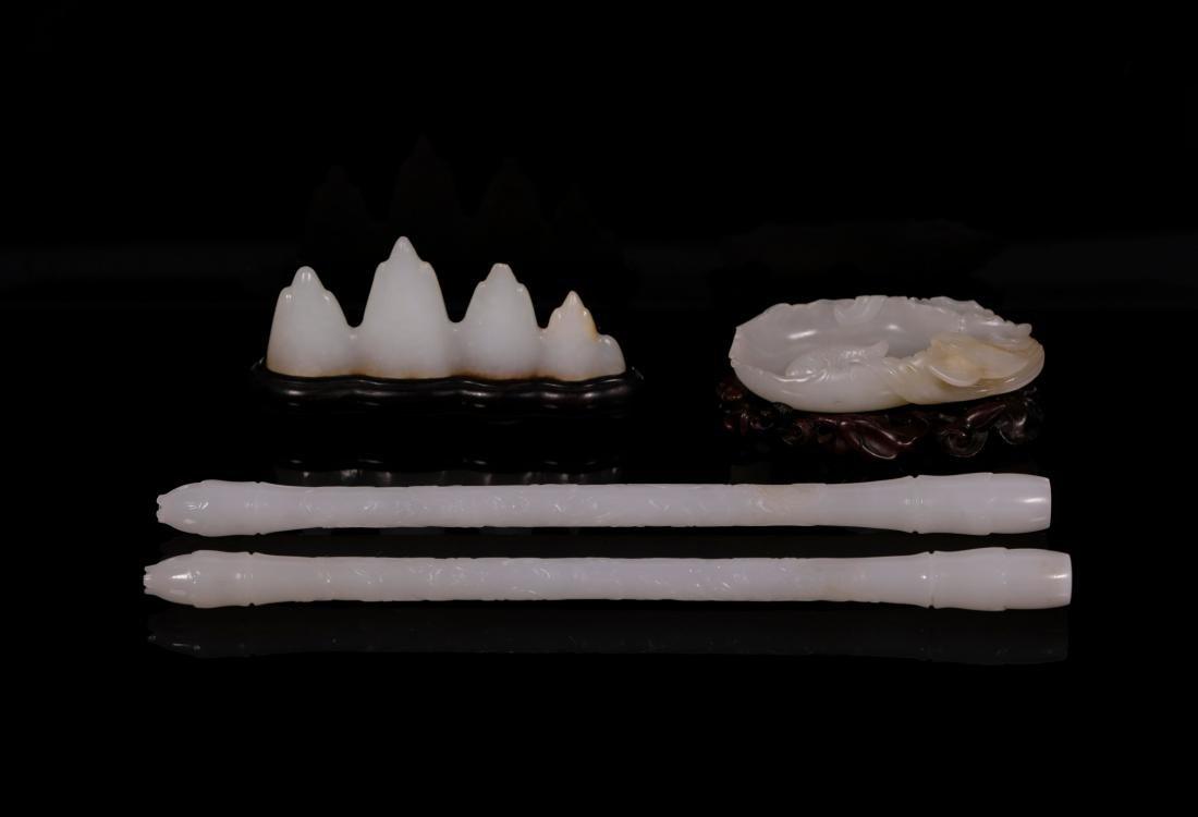 "Qing Dynasty - ""Hetian"" Jade Stationery (4 pc) - 2"