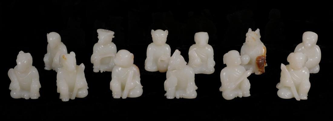 "Qing Dynasty - Set of ""Hetian"" Jade 12 Chinese Zodiacs"