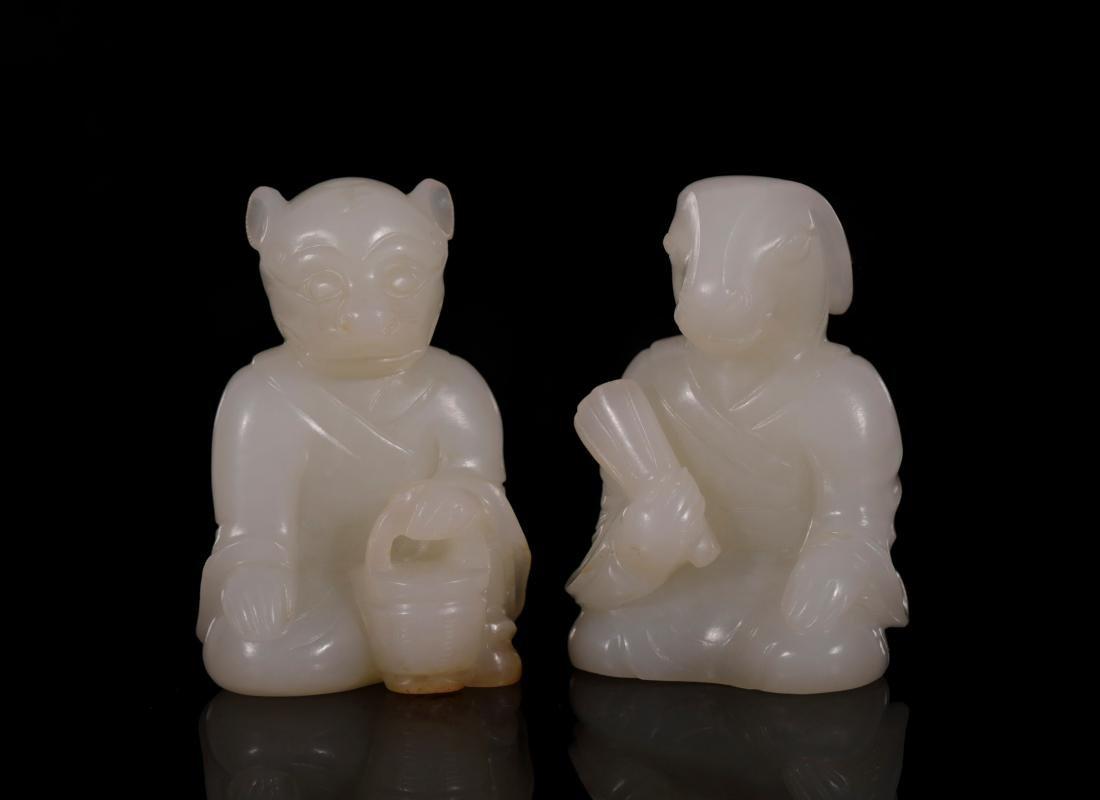"Qing Dynasty - Set of ""Hetian"" Jade 12 Chinese Zodiacs - 4"